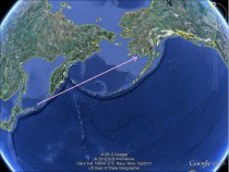 Japan to Alaska (From Google Earth)
