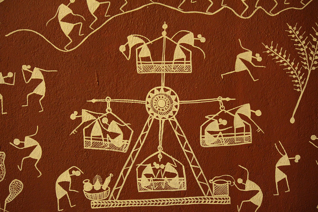 Art on walls facts for kids history kinooze you must have seen this art of matchstick figures a few times it is called warli art warlis are the tribal who live in maharashtra altavistaventures Image collections
