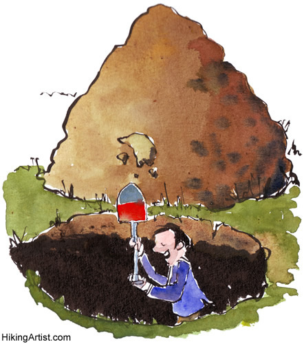 The man started digging for treasure