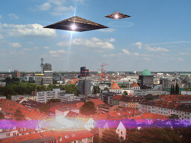 Triangle shaped UFO would look something like this