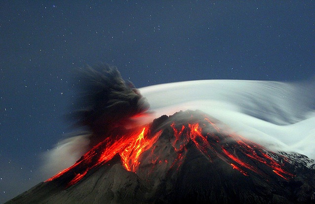 Volcano eruption in Ecuador