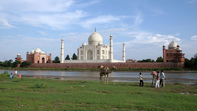 Taj Mahal from the banks of river yamuna