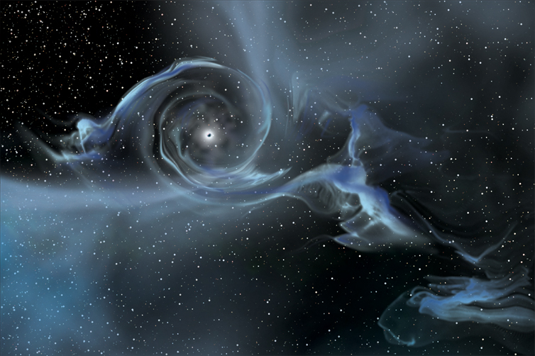 An artist's drawing shows a large black hole pulling gas away from a nearby star