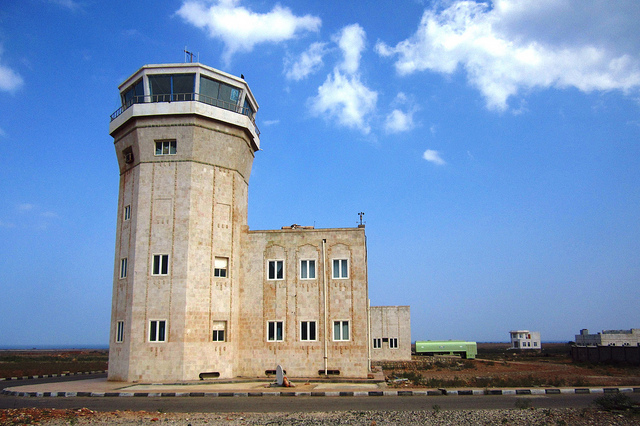The airport tower at socotras that was built after 1999