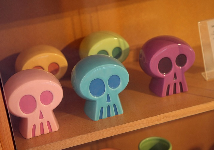 A collection of toy skulls