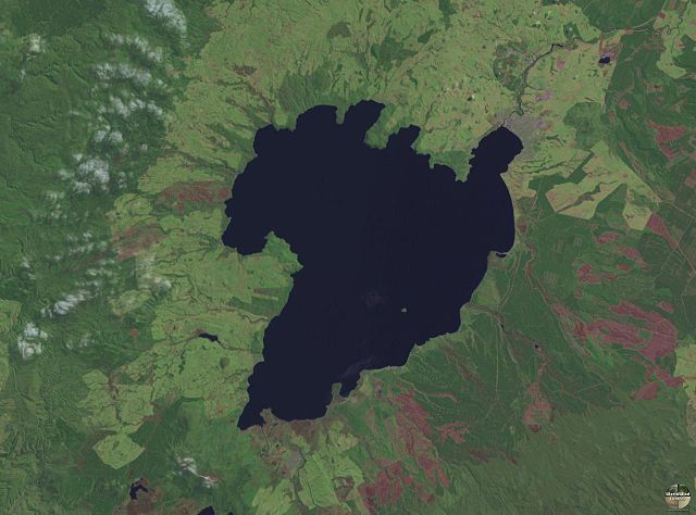 Lake taupo from a NASA Satellite