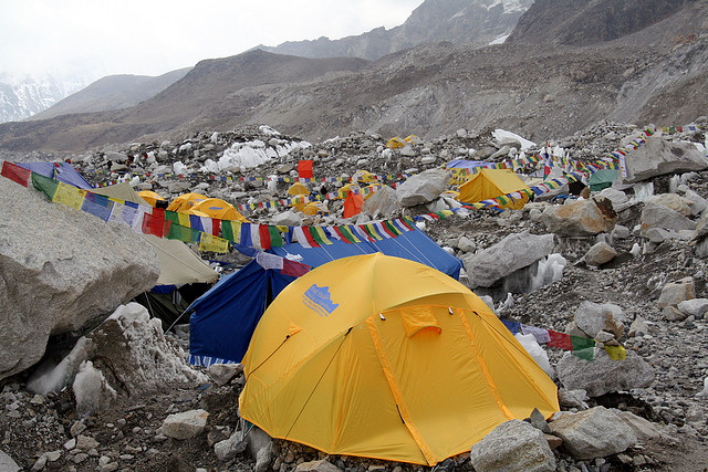 Trekkers camp at base of Mt. Everest