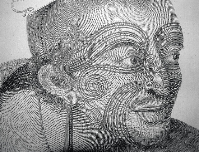 Maori tribe in New Zealand has a traditional face tattoo called Moko