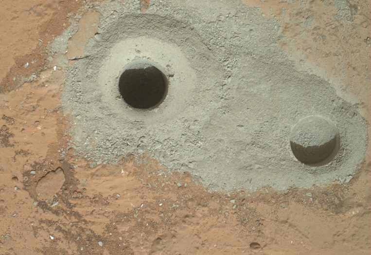 Curiosity drills holes