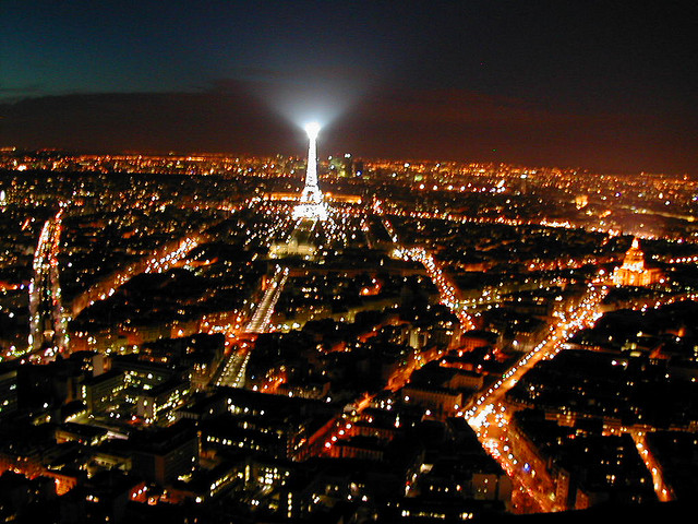 France and Eiffel tower lit in the night