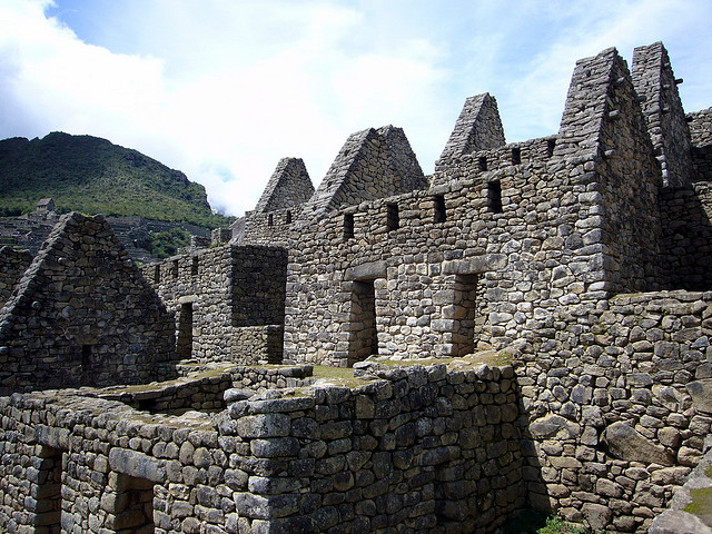 Huge stone huts at Machu Picchu