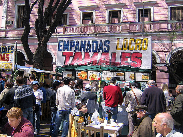 Empanadas selling at a street
