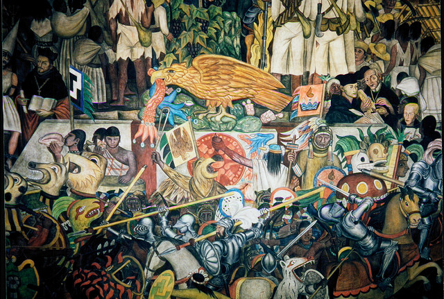 Paintings on the wall murals facts for kids history for Diego rivera la conquista mural