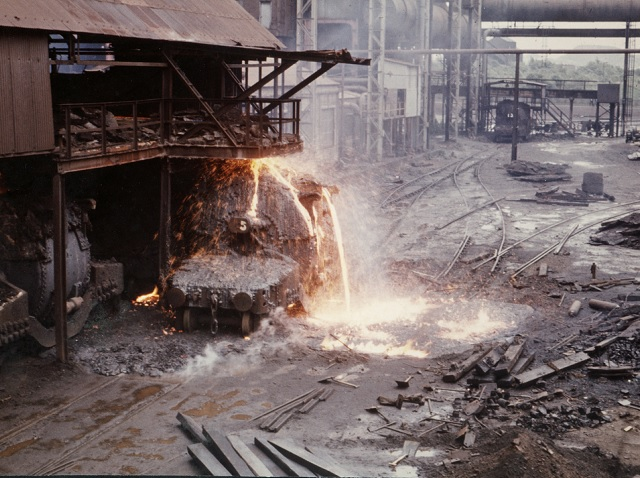 Steel spilling out of furnace
