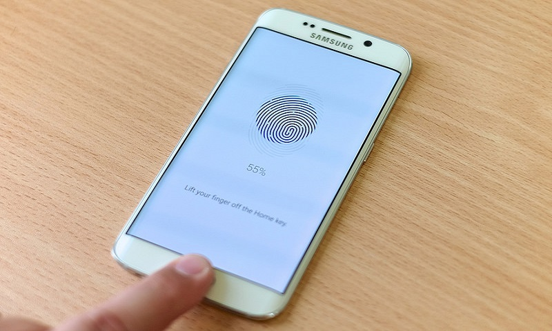 A smartphone with fingerprint recognition
