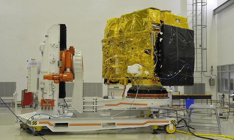 Astrostat during pre launch test in the clean room, The solar panels are wrapped and folded. Image Credit: www.isro.gov.in