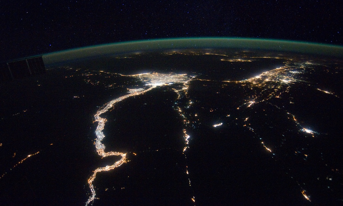A night-time aerial view of River Nile